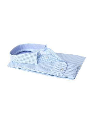 Detail Profuomo Shirt Wit+Blauw