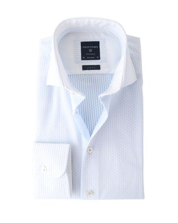 Profuomo Shirt Wit+Blauw Strijkvrij