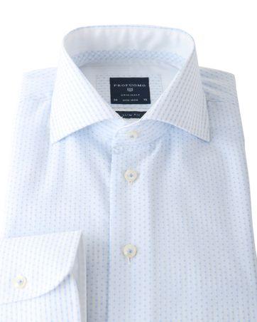 Detail Profuomo Shirt Wit+Blauw Strijkvrij