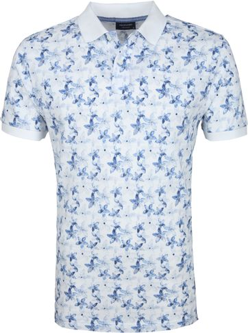 Profuomo Short Sleeve Poloshirt Blumen Blau