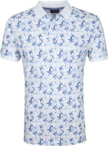 Profuomo Short Sleeve Poloshirt Flower Blue