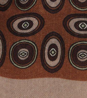 Profuomo Sjaal Geweven Vintage Print Bruin