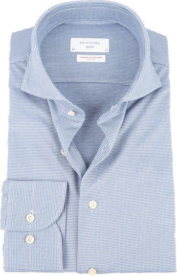 Profuomo Sky Blue SF Overhemd Printed Blauw