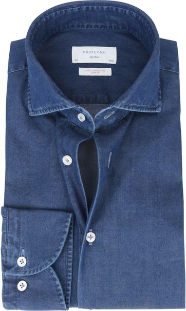 Profuomo Sky Blue SF Shirt Denim Dark Blue