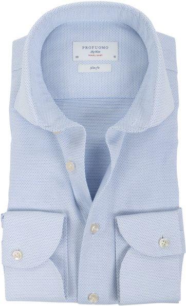 Profuomo Sky Blue Travel Shirt Blau Dessin