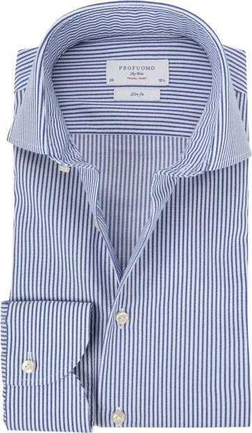 Profuomo Sky Blue Travel Shirt Blau Streifen