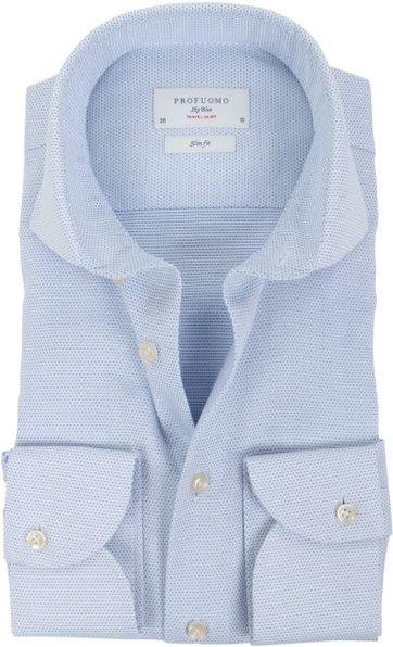 Profuomo Sky Blue Travel Shirt Blauw Dessin