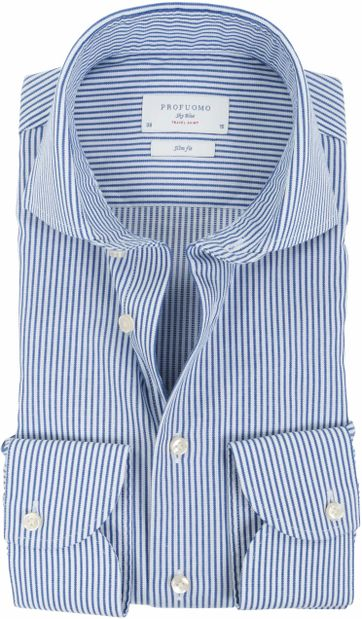 Profuomo Sky Blue Travel Shirt Blauw Streep