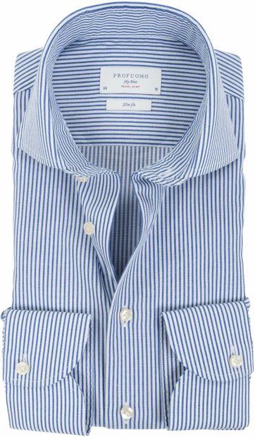 Profuomo Sky Blue Travel Shirt Blauw Streep
