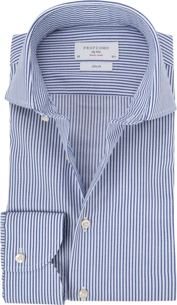 Profuomo Sky Blue Travel Shirt Blue Stripes