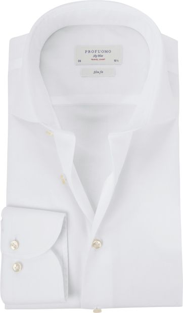 Profuomo Sky Blue Travel Shirt White