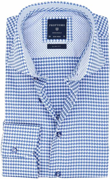 Profuomo Slim Fit Overhemd Blauw Wit