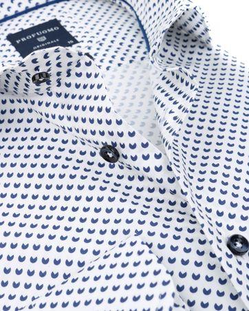 Detail Profuomo Slim Fit Overhemd Wit met patroon