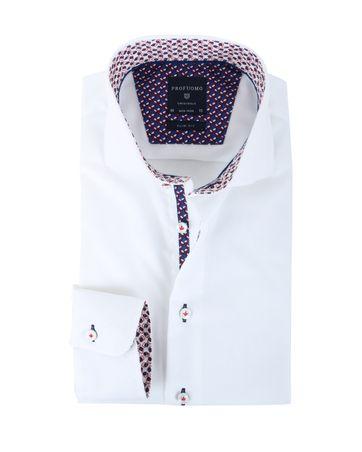 Profuomo Slim Fit Overhemd Wit + Print
