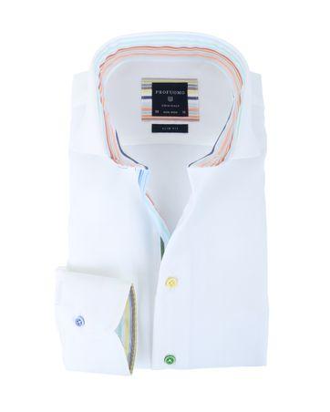 Profuomo Slim Fit Overhemd Wit + Regenboog