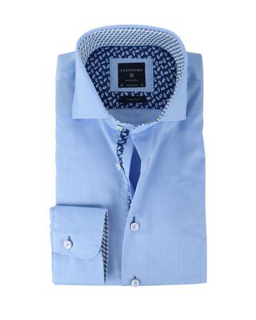 Profuomo Strijkvrij Slim Fit Overhemd Blauw