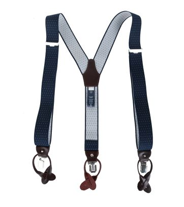 Profuomo Suspenders Navy-White