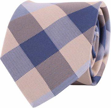 Profuomo Tie Blue + Beige Checkered