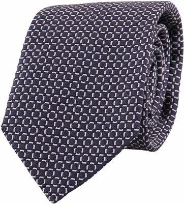 Profuomo Tie Checkered Navy