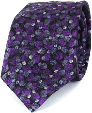 Profuomo Tie Silk Dot Purple