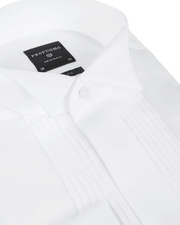Profuomo Tuxedo Shirt Pleated Slim Fit White