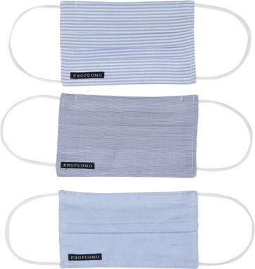 Profuomo Uitwasbare Mondkapjes 3-Pack Blauw