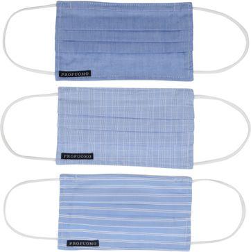 Profuomo Uitwasbare Mondkapjes 3-Pack Blauw Wit