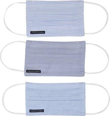 Profuomo Waschbare Mundkappe 3er-Pack Blau