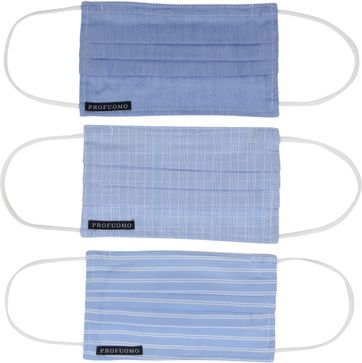 Profuomo Waschbare Mundkappe 3er-Pack Blau Weiß