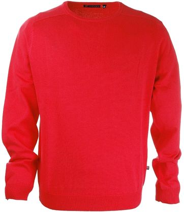 Pullover Round Neck Cotton Coral Red