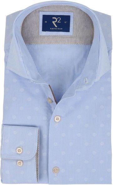 R2 Hemd Blau Streifen Dessin