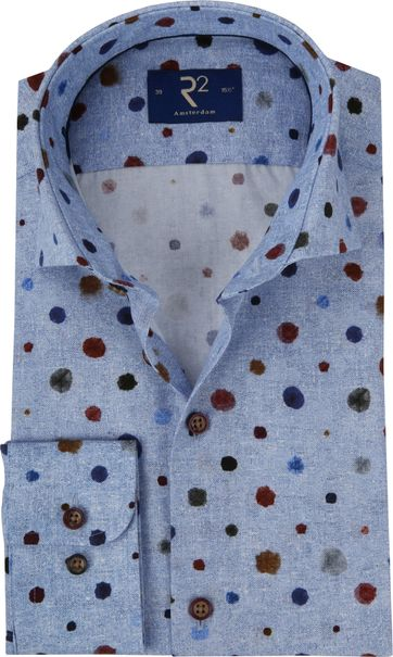 R2 Hemd Blauw Dessin