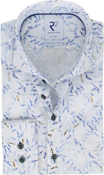 R2 Hemd Print Blau Weiß