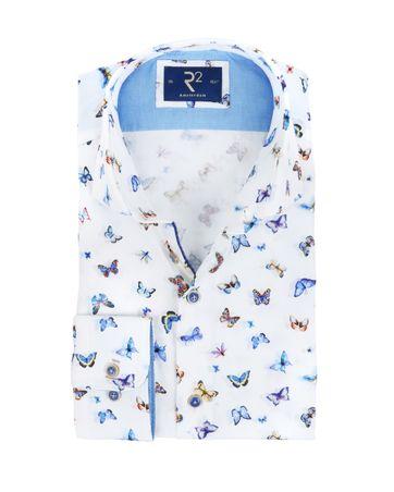 R2 Hemd Weiß Schmetterlinge