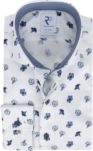 R2 Hemd Weiß Blumen Dunkelblau