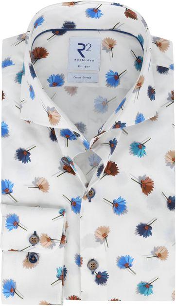 R2 Hemd Weiß Blumen Multi Color