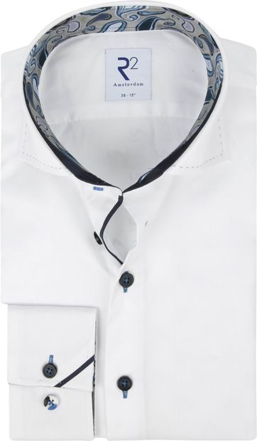 R2 Hemd Weiß Paisley