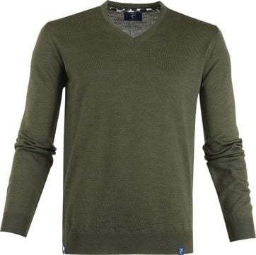 R2 Knit Pullover V-Neck Dark Green