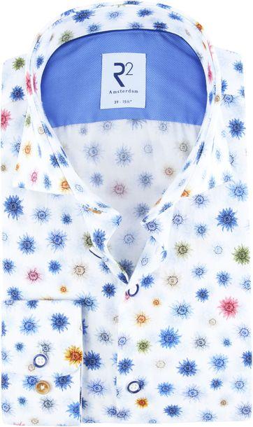 R2 Overhemd Blauw Bloemen