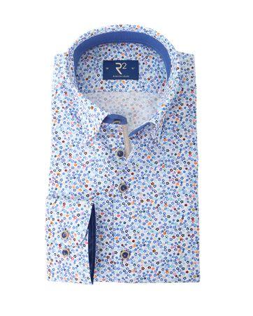 Detail R2 Overhemd Blauw Bloemen Print