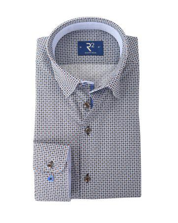 Detail R2 Overhemd Blauw + Bruin