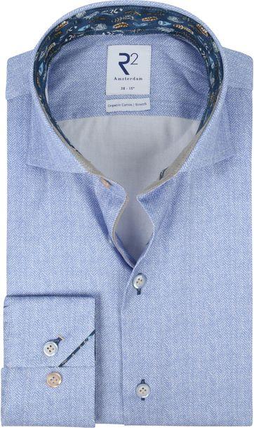 R2 Overhemd Blauw Herringbone