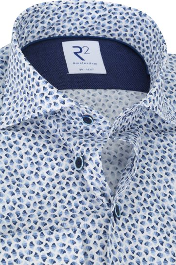 R2 Overhemd Blauw Schelpen