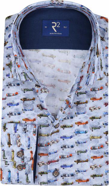 R2 Overhemd Blauw Vliegtuigen