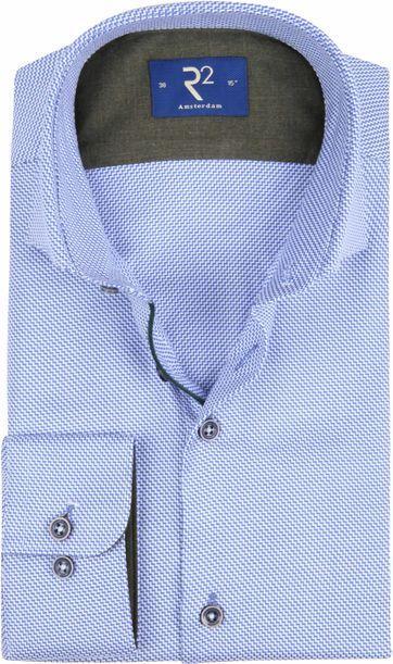 R2 Overhemd Blauw Wit Patroon