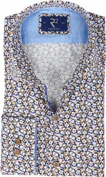 R2 Overhemd Blauwe Bloemetjes