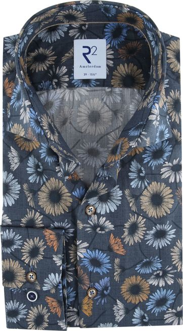 R2 Overhemd Bloemen Donkerblauw