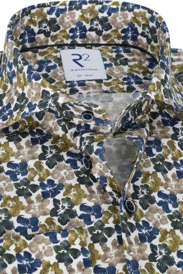 R2 Overhemd Bloemen Groen Blauw