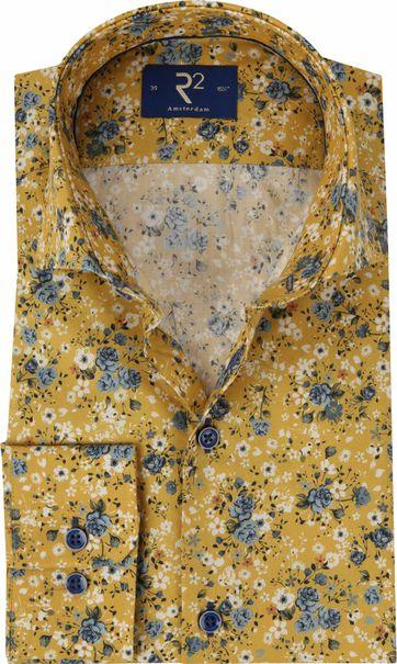R2 Overhemd Bloemen Okergeel