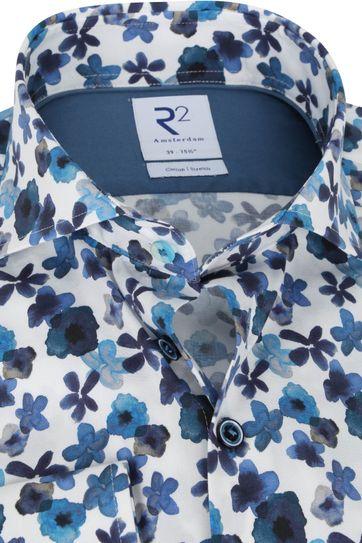 R2 Overhemd Donkerblauw Bloemen